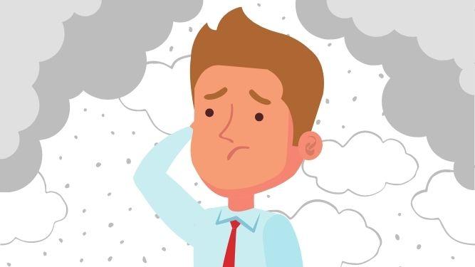 Man thinking with dark clouds around fears the worst